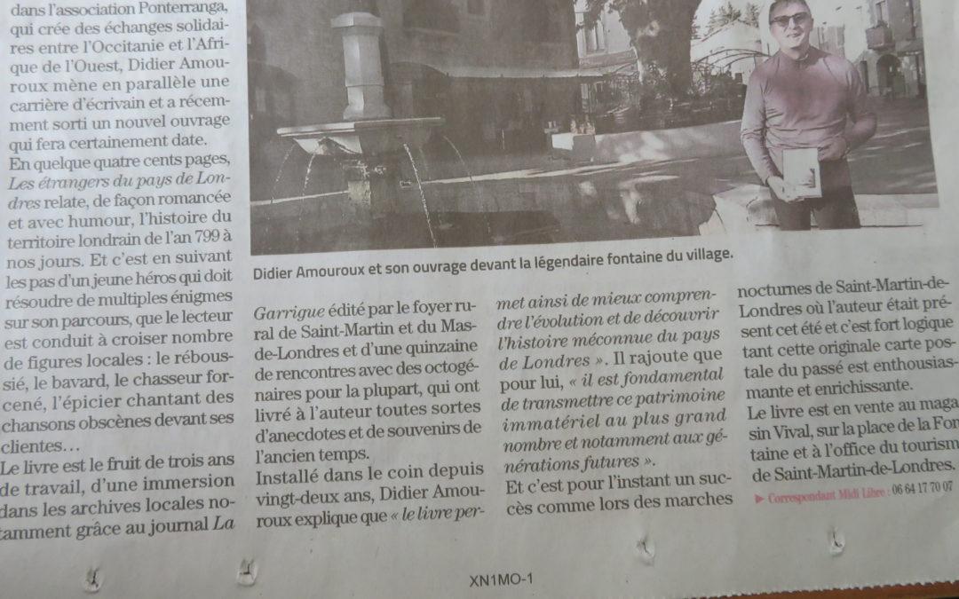 Le journal parle de mon roman de terroir…